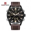 Naviforce 9136 Strap Leather Kulit Dual Time Cokelat