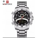 naviforce original 9181 dual time stainless steel SILVER